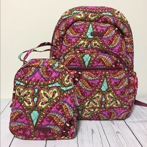 Vera Bradley Backpack And Lunch Tote set